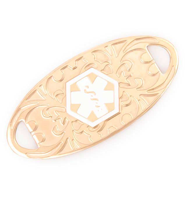 Gold Bliss Rose Gold Plated Medical Id Tag Style Alert